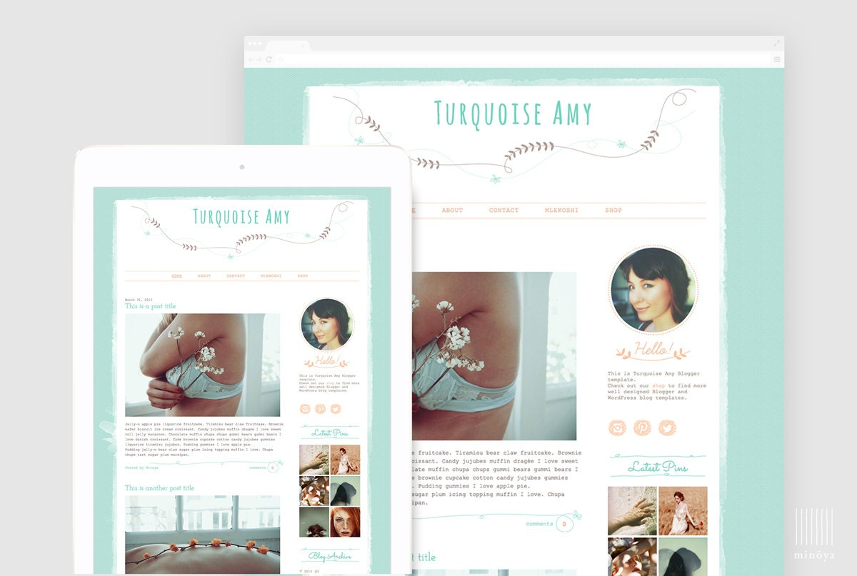 Girly Blog Template Hand drawn Blog Design Cute Blogger