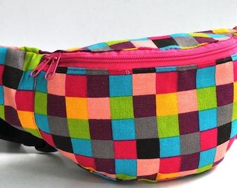 Fanny Pack  1 zipper  coloured blocks pattern ,bum bag,waist bag,belt bag,hip pouch,bags & purses festival bag , festival bag ,camping bag