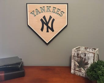 Baseball Sign-New York Yankee's-Engraved-Sports Sign-New York-Yankee's Baseball Sign-Homeplate