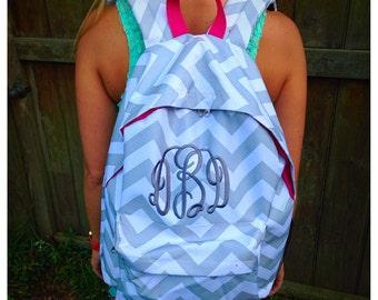 Monogrammed grey/white/hot pink chevron backpack