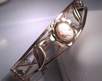 Antique Cameo Bangle Bracelet Victorian Art Deco 1920