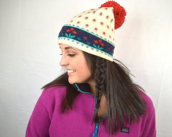 Vintage 80s Wool Ski Knit Winter Hat Pom Pom