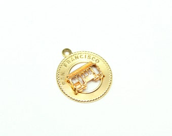 Vintage 14K Yellow Gold San Francisco Tourist Trolly Cable Car Charm or Pendant