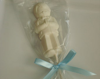 12 Chocolate Praying Boy Lollipops Communion Religious Party Favors Candy Treats