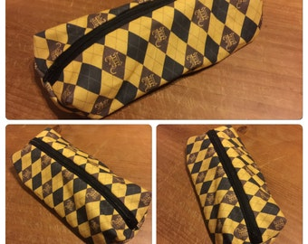 Hufflepuff (Hogwarts) themed pencil case or make up bag - handmade fandom fabric