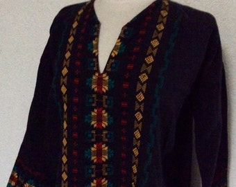 FLASH SALE! Vintage African Tunic Shirt - Geometric  Embroidered Border - Rasta / Afro Punk