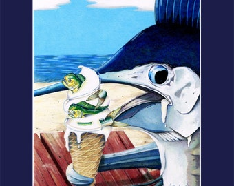 Flavors of Summer marlin eats mahi dolphin ice cream cone Navy Matted Print sportfishing humor