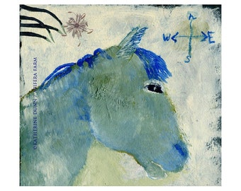 A print of Blue Horse Looking East