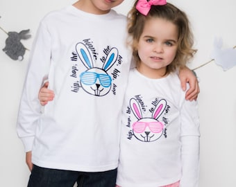 Easter shirt, sibling easter shirt, hip hop shirt, easter shirts for boys, easter shirts for girls, easter bodysuit, first easter, bunny shi