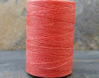 Irish Linen Thread 2 Ply Salmon Waxed 10 Yard WIL34,irish linen thread,salmon linen thread,bookbinding thread,waxed linen thread,coral linen