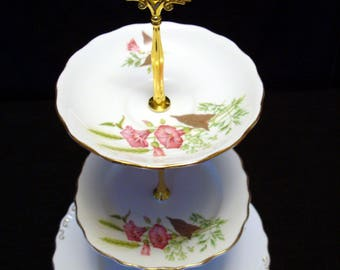 two or three tier cake stand - Upcycled English vintage - high tea or Mad Hatter tea party and weddings