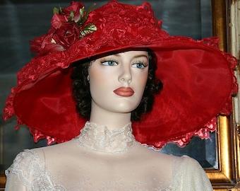 Kentucky Derby Hat Ascot Edwardian Tea Hat Titanic Hat Downton Abbey Hat Edwardian Women's Red Hat Lace Hat - Lady Audrey