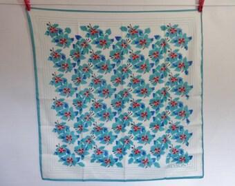 """Vintage Revlon Blue Flower Floral Scarf  77cm x 77cm / 30.3"""" x 30.3"""""""