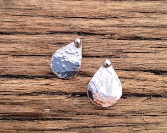 Handmade hammered sterling silver earrings