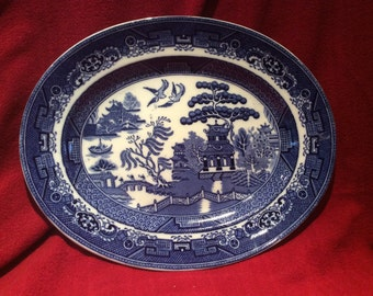 "Adderley Ware Old Willow Oval Serving Platter 12"" x 9 5/8"" circa 1930"