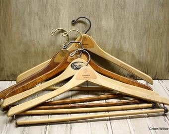 Vintage Wooden Hangers -  Clothing Hangers - Closet Organizers - Supplies - Set of Five - Glasgow