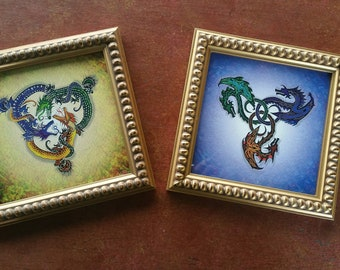 """Vintage Gold bubble Mini Framed """"DRAGONS"""" SET of 2 Dragons, Gothic, Asian"""