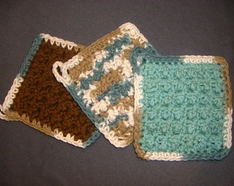 Set of Three Bumpy Cotton Washcloths Dishcloths in Teal and Brown, USA grown cotton