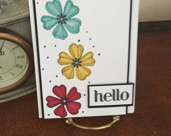Hello Flower Burst Card