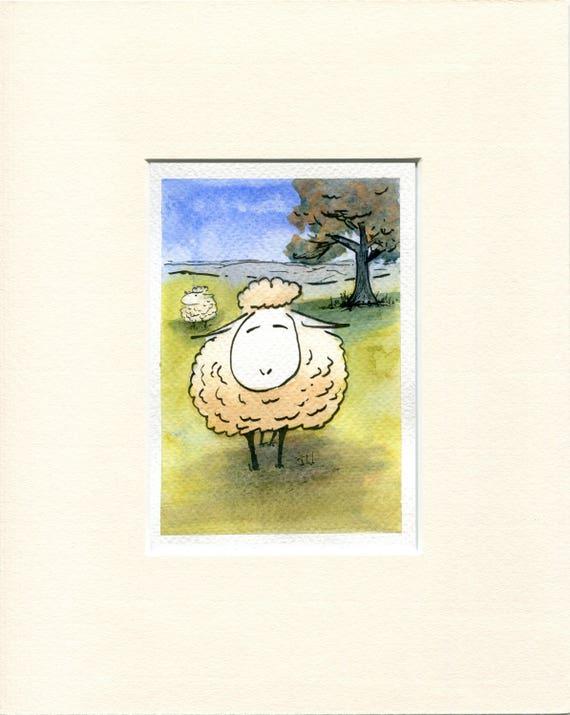 Original watercolour cartoon by Jon Warren. \'Happy