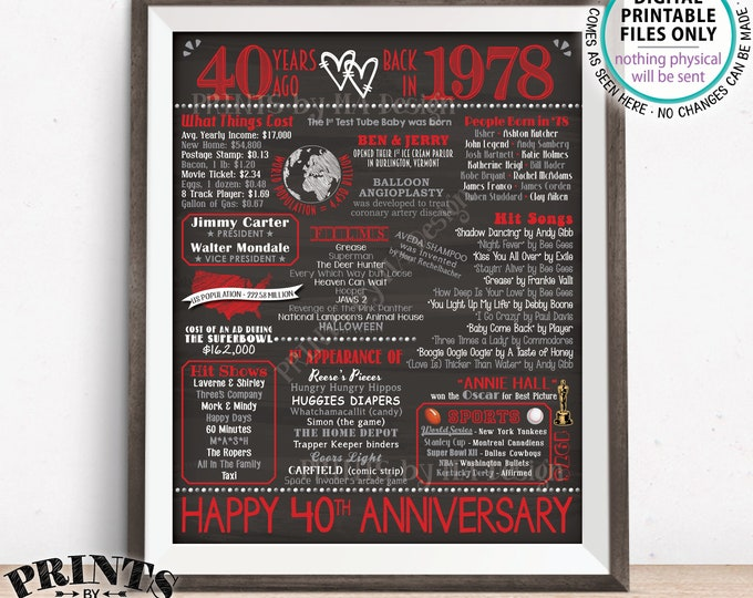 "40th Anniversary Gift, Married in 1978 Anniversary Flashback 40 Years Back in 1978, Red, PRINTABLE 8x10/16x20"" Chalkboard Style Sign <ID>"