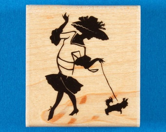 Woman Walking Small Dog Rubber Stamp - Smoochie Poochie by Stampabilities