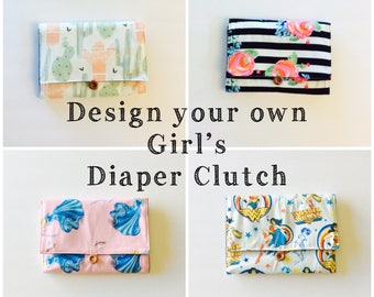 DESIGN YOUR OWN Girl's All-in-One Diaper Clutch and Changing Pad, pink, gold, floral, boho, Disney, custom fabric, waterproof lining
