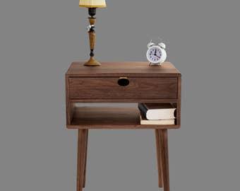 Bedside table Walnut/oak solid 1A1C Mind Century