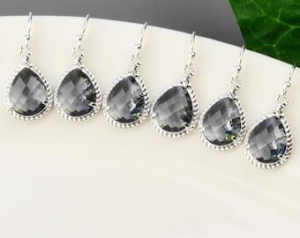 Gray Bridesmaid Earrings SET OF 4 - 8% OFF Silver Charcoal Gray Bridesmaid Jewelry - Glass Teardrop Earrings - Wedding Jewelry - Bridal