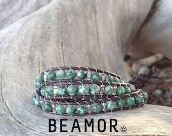 Tree Agate triple leather wrap