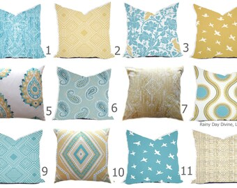 Pillow Covers - Saffron Yellow Butter Cup Blue Aqua Turquoise White Ikat Tribal Modern- All sizes 16x16  18x18  Throw Toss Accent Pillow