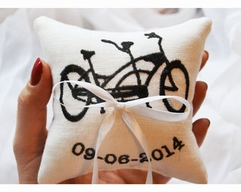Tandem Bicycle ring bearer pillow ,personalized wedding pillow ,wedding pillow, Bicycle ring bearer pillow,Custom embroidery (LR19)