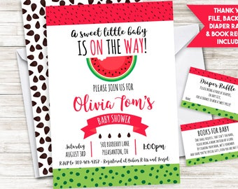 Watermelon BABY Shower Invite Invitation Sprinkle Summertime Picnic Summer Fruit Digital 5x7 Personalized