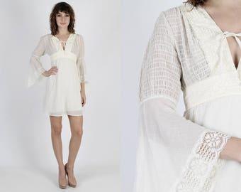 Angel Sleeve Dress Boho Wedding Dresss Bell Sleeve Dress Boho Dress Vintage 70s Ivory Lace Dress Sheer Bridesmaids Floral Prairie Mini Dress