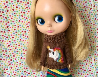 Brown unicorn sweater and rainbow Skirt set for Blythe doll