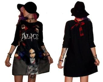 Alice In Wonderland Black Dress With Print Art Alice Maddness A line