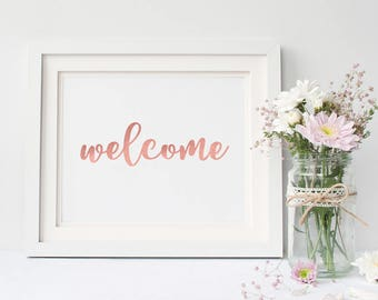 Welcome Sign // Rose Gold Text // Wedding Sign // Printable Wedding Signs // Instant Download