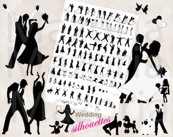 NEW Silhouette dancing wedding bridal party 125 Silhouettes INSTANT DOWNLOAD all black for diy invitations and programs clip art 300ppi