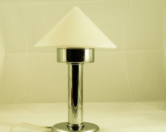 Casablanca Table Lamp Cone Opal Glass Mouth Blown Glass Chrome Base Made In  West Germany Home Design Ideas