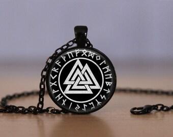 Valknut Pendant Necklace,Odin's Symbol of Norse Viking Symbols Wiccan Pagan