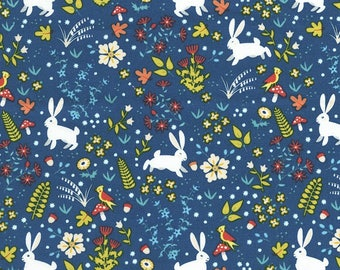 Patchwork Bunny Blue timeless treasures fabric