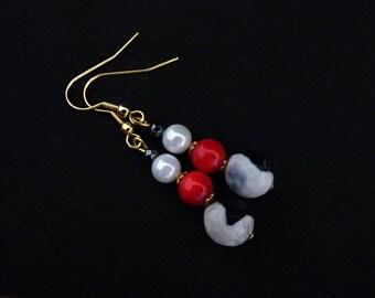 Beaded Earrings Coral Earrings Agate Earrings