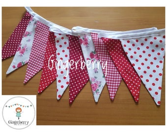 Gingerberry Bunting red white floral gingham spots shabby chic valentines