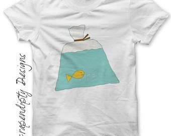Fish in a Bag Iron on Transfer - Carnival Iron on Shirt PDF / Kids Boys Clothing Tops / Toddler Fish Shirt / Baby Clothes / Printable IT38