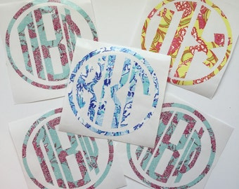 Framed Circle Lilly Print Inspired Sorority Greek Monogram Vinyl Decal