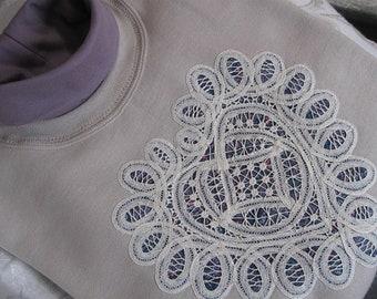 Small - Battenburg Lace Embellished White Sweatshirt