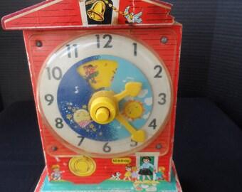 REDUCED Vintage Fisher Price Music Box Teaching Clock  1546