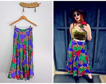 Vintage Silk Floral Skirt, Rose Print Skirt, Silk Maxi Skirt, High Wasited Skirt, 80's Skirt, Retro Maxi Skirt, Purple Red Green Skirt