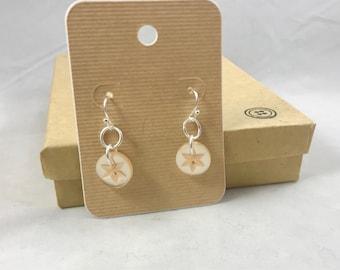 Sterling Silver Vintage Star Button  Dangle Earrings