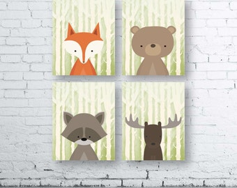 WOODLAND Animals Wall Art Print-Set of Four (4) - Digital Download. Woodland Creatures Wall Art Printable. Forest Friends Printable. Cream